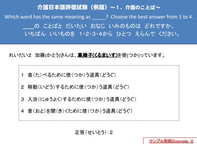 介護技能・日本語の評価試験サンプル問題